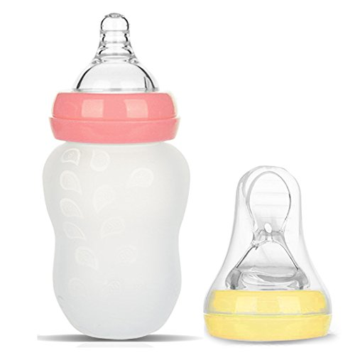 BABY MATE 2-in-1 Anti Colic Baby Feeding Bottles & Silicone Squeeze Feeder (6oz/180ml, Pink & Yellow) - BPA Free Baby Bottles - Baby Food Dispensing Spoon - Wide Neck Bottles - Bottle Feeder