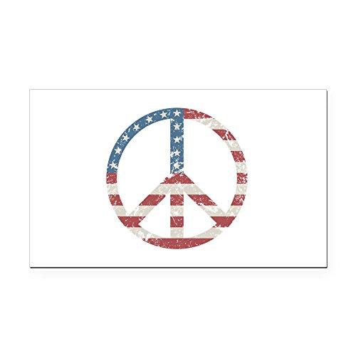 CafePress - Vintage Peace USA Rectangle Car Magnet - Rectangle Car Magnet, Magnetic Bumper Sticker (Magnet Rectangle Patriotic)