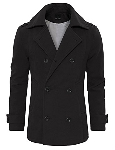 Tom's Ware Men's Stylish Wool Blend Double Breasted Pea Coat TWCC10-CHARCOAL-US XXL