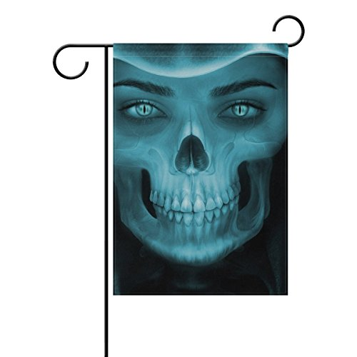 (Home Decorative Outdoor Double Sided Skull Art Demon Abstract Death Dead Undead Ghost Garden Flag,house Yard Flag,garden Yard Decorations,seasonal Welcome Outdoor Flag 12 X 18 Inch Spring Summer Gift)