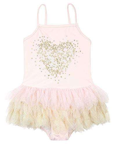 Mack Piece Swimsuit Kate 2 - Kate Mack Girls' Shimmering Beauty Swimsuit with Sequin Heart, Sizes 2-12 - 6 Pink
