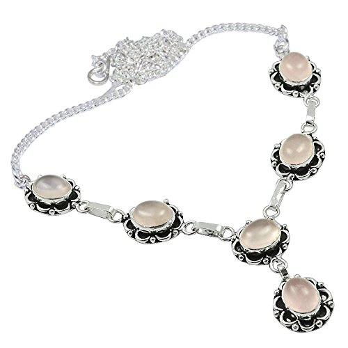 SIlVERART 20.9Gm Genuine Cabochon Rose Quartz 925 Silver Plated Necklace - Necklace Quartz Rose Genuine