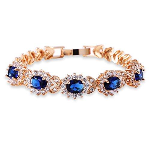 GULICX Women's Gold Plated 5 Oval Cubic Zirconia Tennis Link Blue Bracelet Sapphire ()
