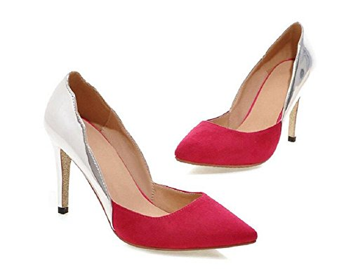 Pointed Toe Thin With High - Heeled Court Shoes Shallow Mouth Bridal Shoes , peach red , 43