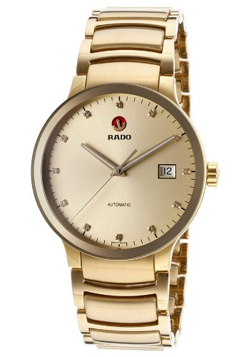 Rado Centrix R30279703 38mm Diamonds Automatic Gold Plated Stainless Steel Case Gold Tone Steel Bracelet Sapphire Crystal Men's Watch