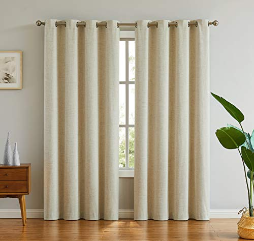 Meiying 84 inches 100% Blackout Waterproof Curtains Thermal Insulated Energy Efficient Window Treatmen Sets for Bedroom, 52