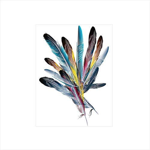 - Ylljy00 Decorative Privacy Window Film/Inspirational Bouquet of Types of Colorful Retro Quill Pen Feather Figures/No-Glue Self Static Cling for Home Bedroom Bathroom Kitchen Office Decor Multi