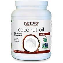 Nutiva Organic, Cold-Pressed, Unrefined, Virgin Coconut Oil from Fresh, non-GMO, Sustainably Farmed Coconuts, 78-ounce