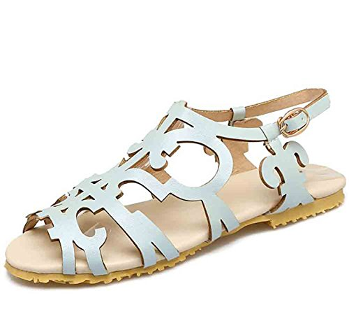 Easemax Womens Vintage Hollow Out Open Toe Buckled Flat Roman Sandals Blue rvdkk1Ck