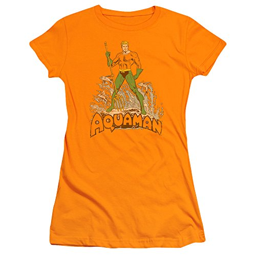 Comics Sheer T-shirt (DC Comics Aquaman Distressed Juniors Sheer T-Shirt Tee)