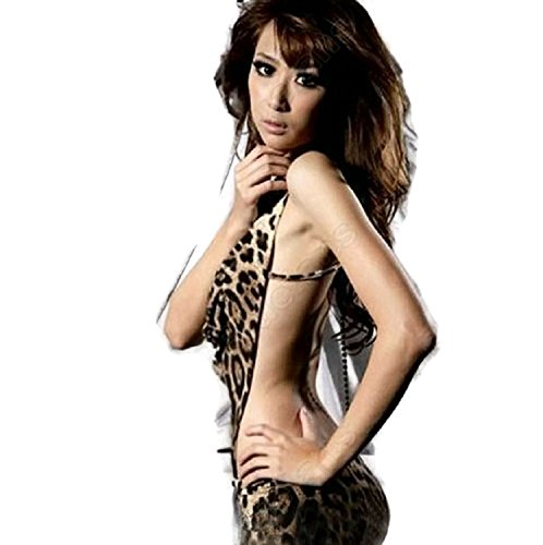 Hot Sale! Sexy Women's Leopard Print Lingerie Underwear Panther Print Sleep Wear Mini Dress (Freesize, Leopard)