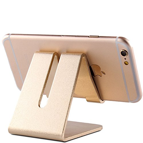 iBarbe Tablet Stand Desktop Holder Dock for iPad Mini Air 2 3 4 Pro, iPhone 6 7 8 X Plus, Nintendo Switch Accessories, Samsung, Other Tablet (4-12 inch),e-Readers More- Gold
