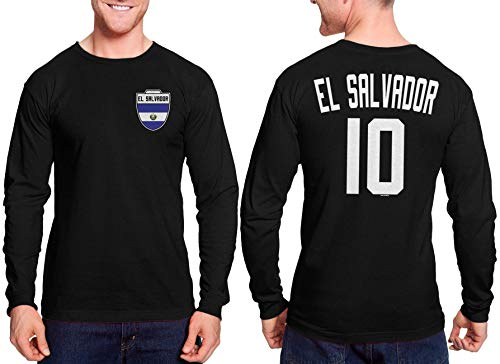 HAASE UNLIMITED El Salvador Futbol Jersey - El Salvadorian Unisex Long Sleeve Shirt (Black, -
