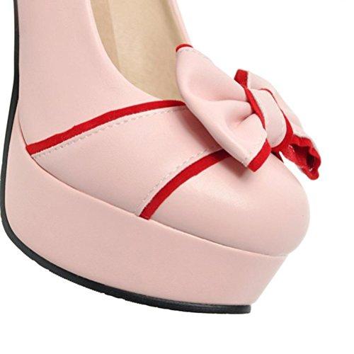 de de Foot Zapatos Boca Mary Zapatos gran de de princesa Jane Bowknot pink baja Plataforma Strap Zapatos Bare tacón Buckle QPYC tamaño impermeable alto mujer 1wvO5qUv