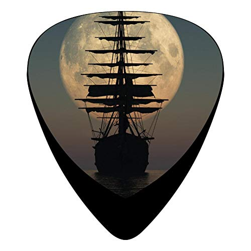 Celluloid Guitar Picks Holders Plectrum For Acoustic Guitar,Best Gift For Guitar Lover,Print The Ship To The Moon,12 Pack ()