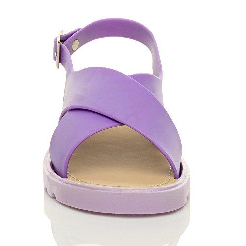 Taille Été Plates Caoutchouc Femmes En Sandales Gelée Chaussures Violet Crossover Boucle Ajvani Pour Dames Slingback Chunky PZUFpT