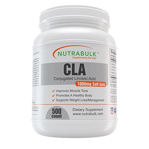 NutraBulk CLA (Conjugated Linoleic Acid) 1000mg Soft Gels - 500 Count