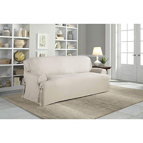(Tailor Fit Relaxed Fit Cotton Duck T-Cushion Sofa Slipcover Oatmeal)