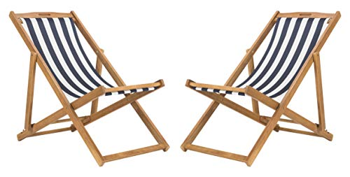 (Safavieh PAT7040A-SET2 Outdoor Collection Loren Teak, Navy and White Foldable Sling Adirondack Chair)