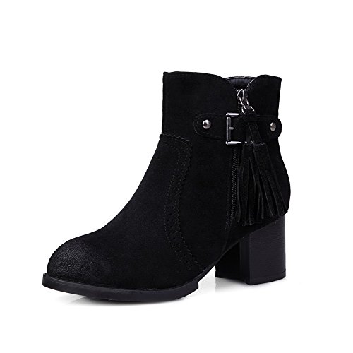 top Closed Heels Women's Allhqfashion Polish Toe Dull Round Kitten Low Solid Boots Black IpIqw8AFx