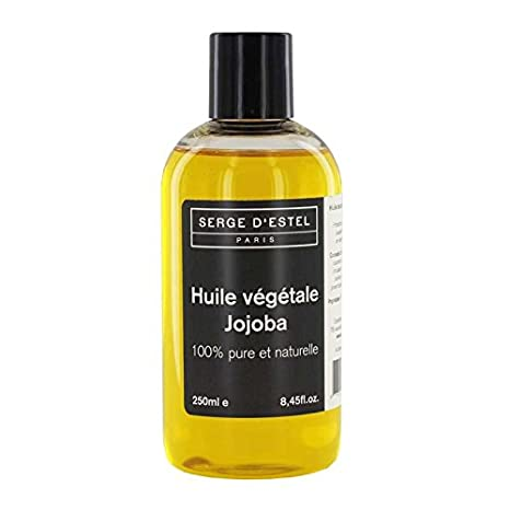 Aceite de jojoba, 250 ml.Aceite de tratamiento, 100 % puro.Pieles maduras, cabello roto.Antiarrugas, brillo, protección, reparador.