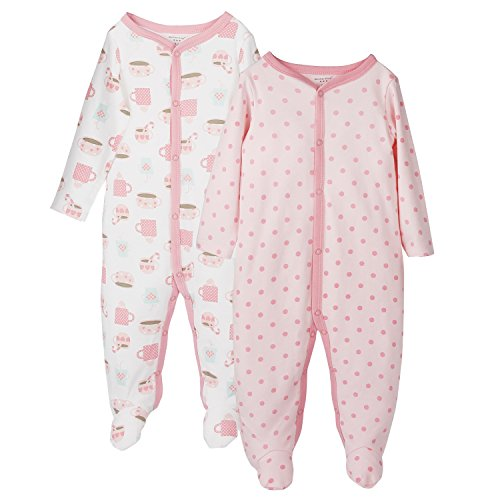 Cotton Footie Pajamas (Future Founder Baby Girl Footed Pajamas, Soft Cotton Long Sleeve Jumpsuit, 2 Pack, 12 Month)