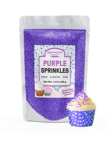 Purple Sprinkles, 1.5 lb by Unpretentious Baker, Purple Jimmies, Gluten-Free, Kosher, Clear Resealable Bag]()