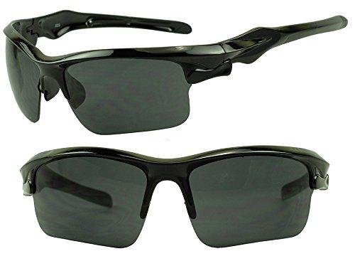 [Extreme Wrap Around Anti-Glare Mirrored High Performance Sports Sunglasses for Cycling, Running, Biking, Tennis (Black | Black] (Mens Sports Costume Ideas)