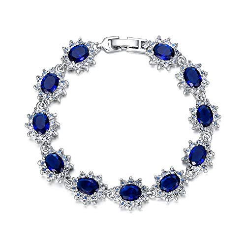 EVER FAITH Women's Austrian Crystal Zircon Bridal Snowflake Flower Tennis Bracelet Blue ()