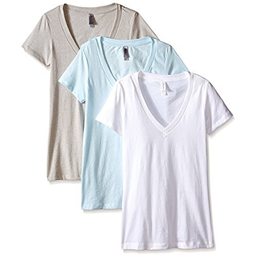 Clementine Apparel Women's Deep V Neck Tee (Pack of 3), Ice Blue/Silk/White, XX-Large ()