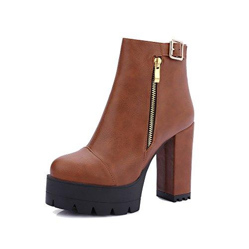 AgooLar Damen Hoher Absatz Rein Schließen Zehe Reißverschluss Stiefel mit Metallisch, Grau, 40