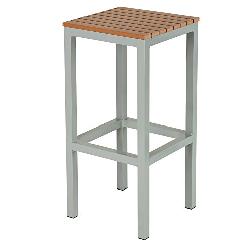 Lola Aluminum Outdoor Backless Barstool in Poly Wood, Silver/Teak
