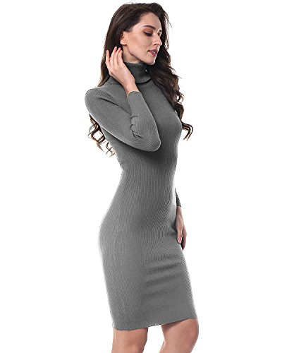 Kenancy Mince Solide Longue Robe Pull En Tricot Femme Manches Élastiques Crayon Moulante Midi Robe Grise # 1