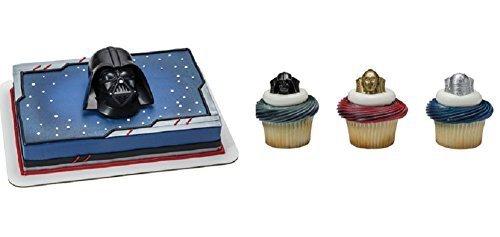 Star Wars Darth Vader Cake Topper PLUS 24 Matching Cupcake (Star Cake Ring)