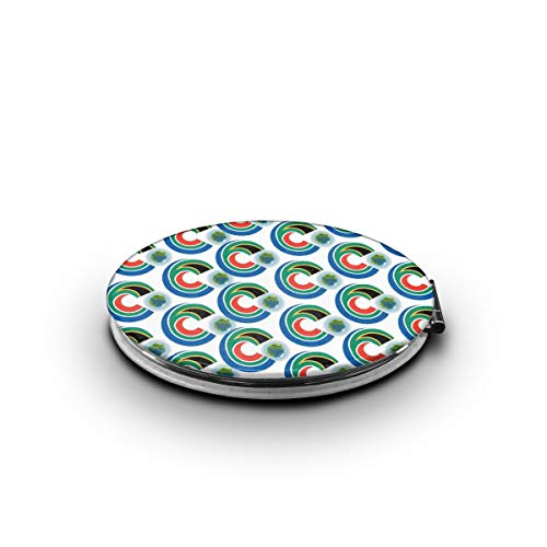ZORITO Makeup Mirror South Africa Flag Eat The Earth Double-Sided Portable Folding -