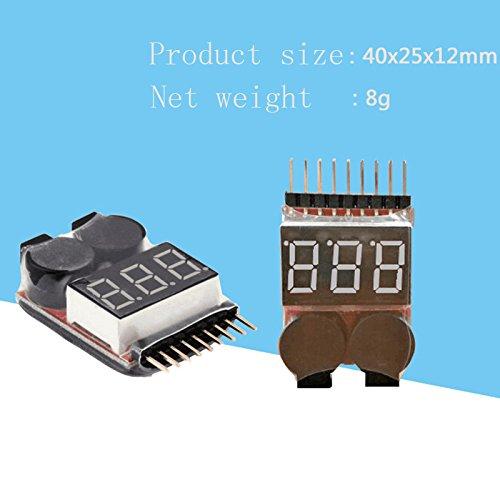 Majome 1-8S LED Lipo Battery Monitor Indicador de Voltaje Comprobador Tester Alarma de zumbido de bajo Voltaje para Lipo Li-Ion LiMn Li-Fe Battery