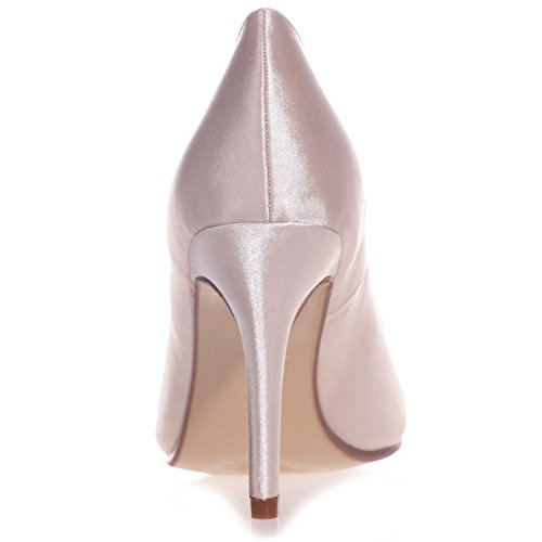 Size Kitten da Champagne 9 Sposa Peep 42 Toe Raso 35 Elobaby Toe da Heel Scarpe in Prom Evening Donna Z7S1SR