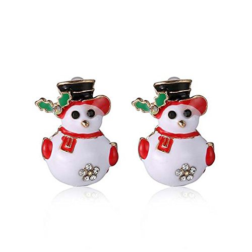 Elakaka Cute Christmas Snowman Crystal Earrings Korean Stud Earrings