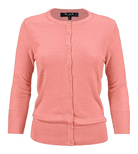 (YEMAK Women's 3/4 Sleeve Crewneck Button Down Knit Cardigan Sweater CO079-PNK-L Pink)