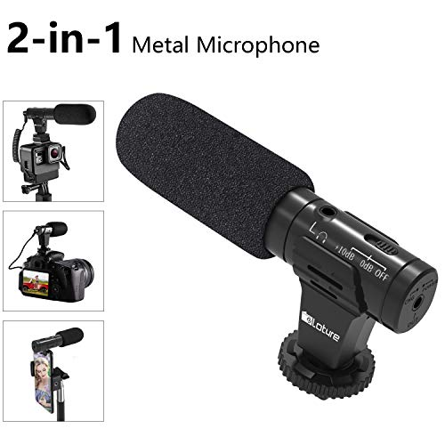 Ploture Phone Microphone and Video Microphone, Super-Cardioid Camera Microphone with Deadcat Windscreen and Earphone Monitor Hole Works with iPhone/Andoid/Smartphones/Camera(Metal)
