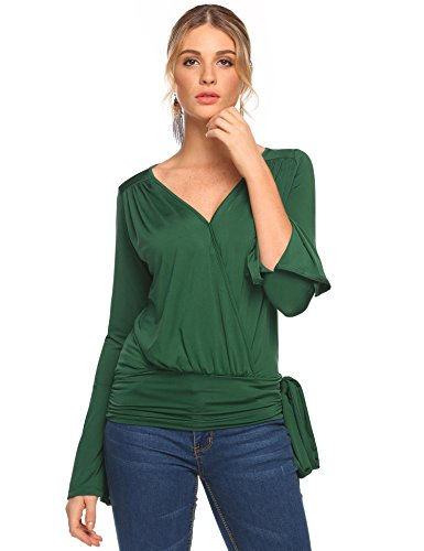 Eshion Women Casual T-shirt V-neck Flare Sleeve Loose Drape Belted Wrap Top Belted Wrap Top