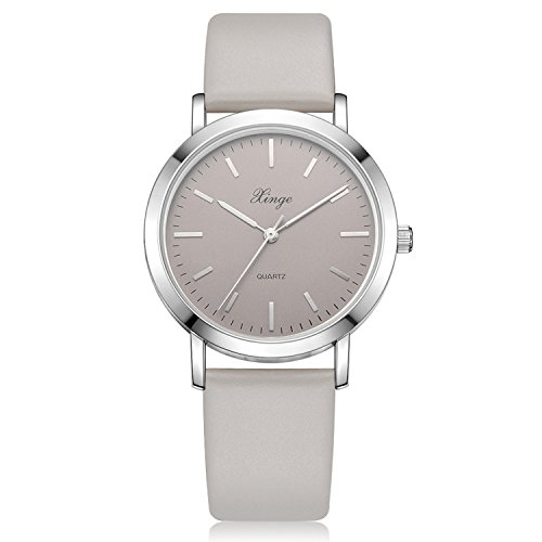 Grey Leather Watch - Xinge Women's Classic Wrist Watches with Leather Band Silver Tone Bezel XG1064 (grey)