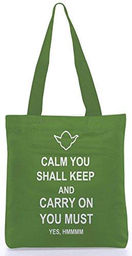 Snoogg halten Ruhe und machen auf 13,5 x 15 Zoll-Shopping-Dienstprogramm-Einkaufstasche aus Polyester-Segeltuch gemacht