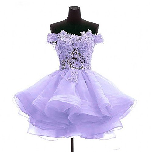 ANGELA Women's Off The Shoulder Organza Short Prom Homecoming Dresses ()