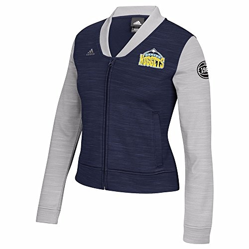 adidas Denver Nuggets NBA Navy Blue On-Court Full Zip Track Jacket w/Patches Jacket For Women ()