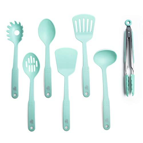 GreenLife CC001729-001 Nylon Cooking Set, 7-Piece, Turquoise, 7pc Utensil, Turqouise (Renewed)