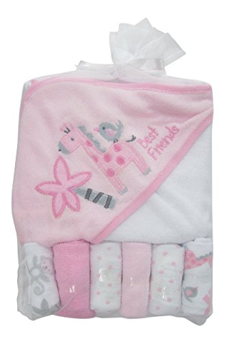 Little Beginnings Zoo Print Hooded Towel and Washcloths Gift Set, Pink