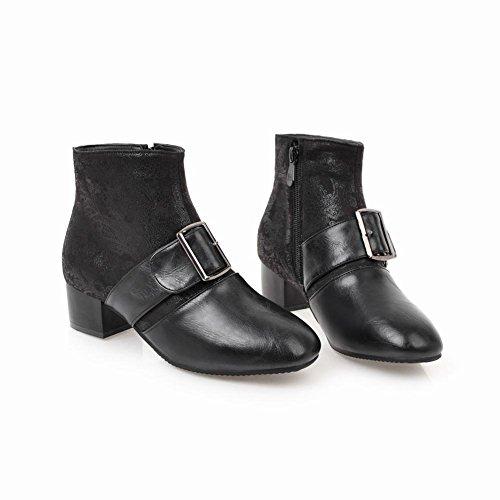 Latasa Womens Retro Tryckt Munk Rem Chunky Klack Boots Svart