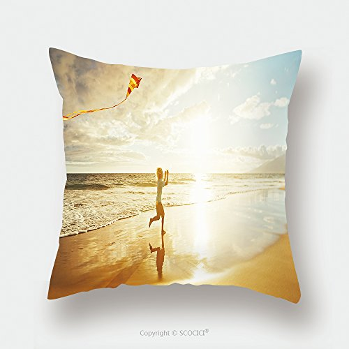 Custom Satin Pillowcase Protector Young Boy Playing With Kite On The Beach 462851491 Pillow Case Covers Decorative by chaoran