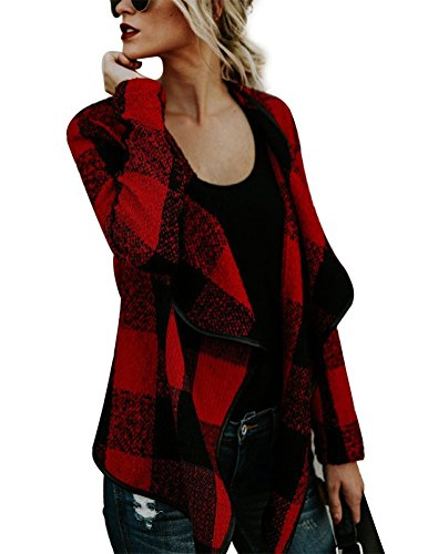 4 You Tweed Coat (Myobe Women's Casual Long Sleeve Lattice Lapel Plaid Tweed Open Front Grid Cardigan Trench Drape Coat Jacket Outerwear (M, Red))